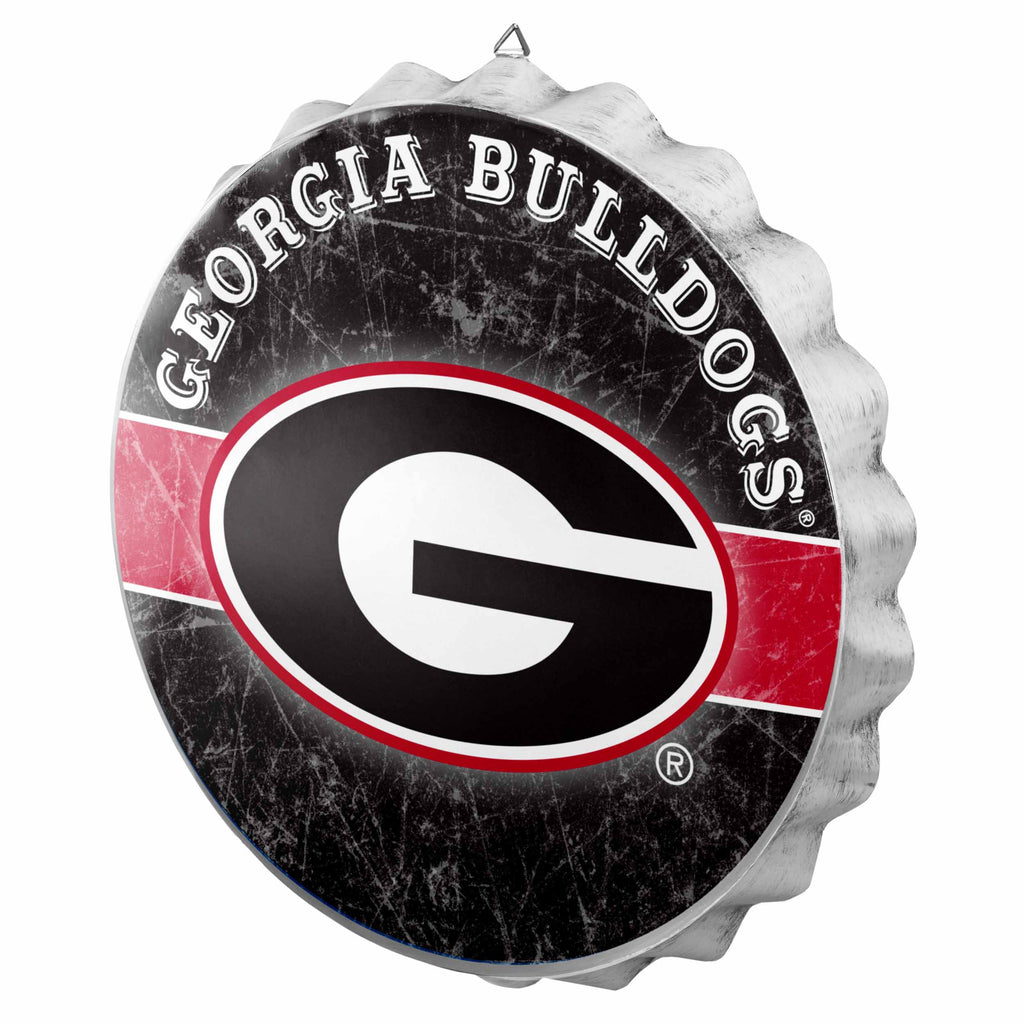 Georgia Bulldogs Metal Distressed Bottle Cap Sign