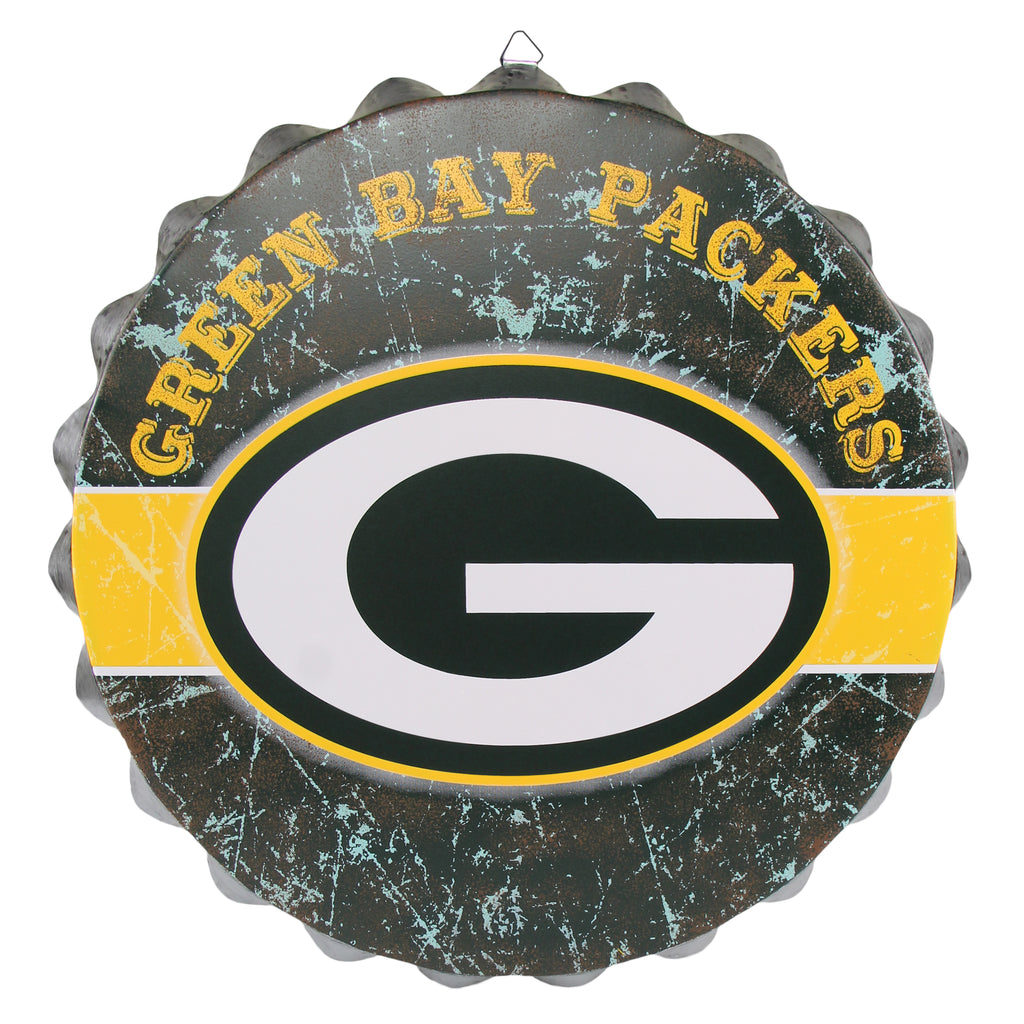 Green Bay Packers Metal Distressed Bottle Cap Sign