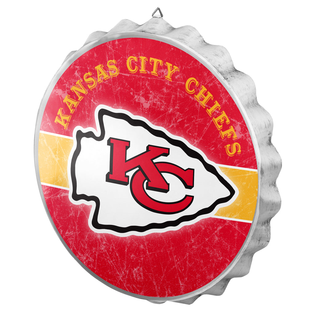 Kansas City Chiefs Metal Distressed Bottle Cap Sign