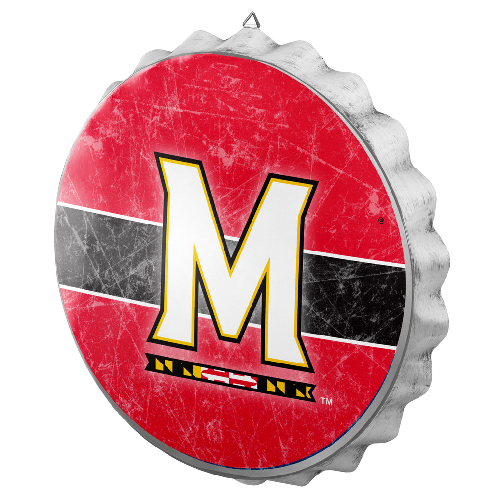 Maryland Terrapins Metal Distressed Bottle Cap Sign