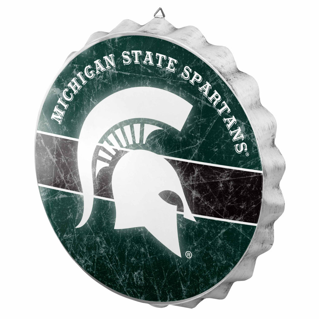 Michigan State Spartans Metal Distressed Bottle Cap Sign