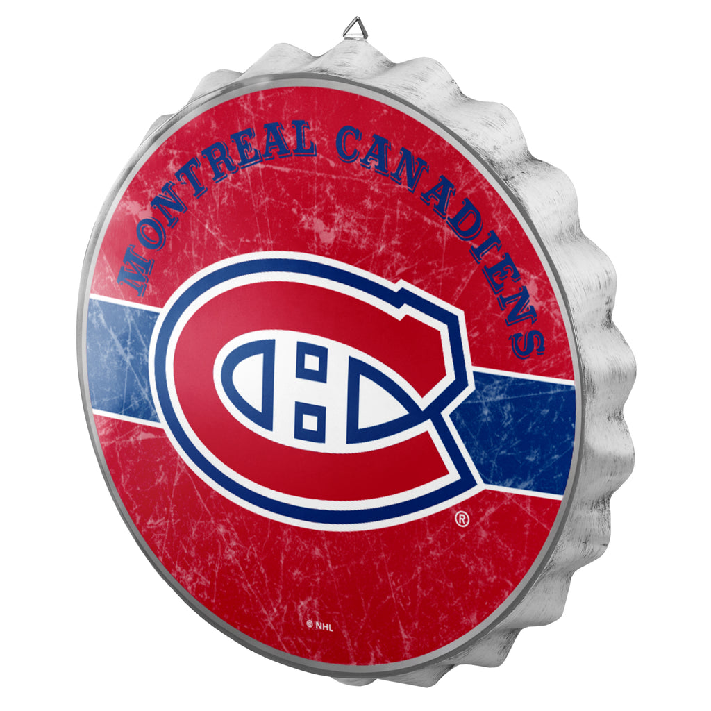 Montreal Canadiens Metal Distressed Bottle Cap Sign