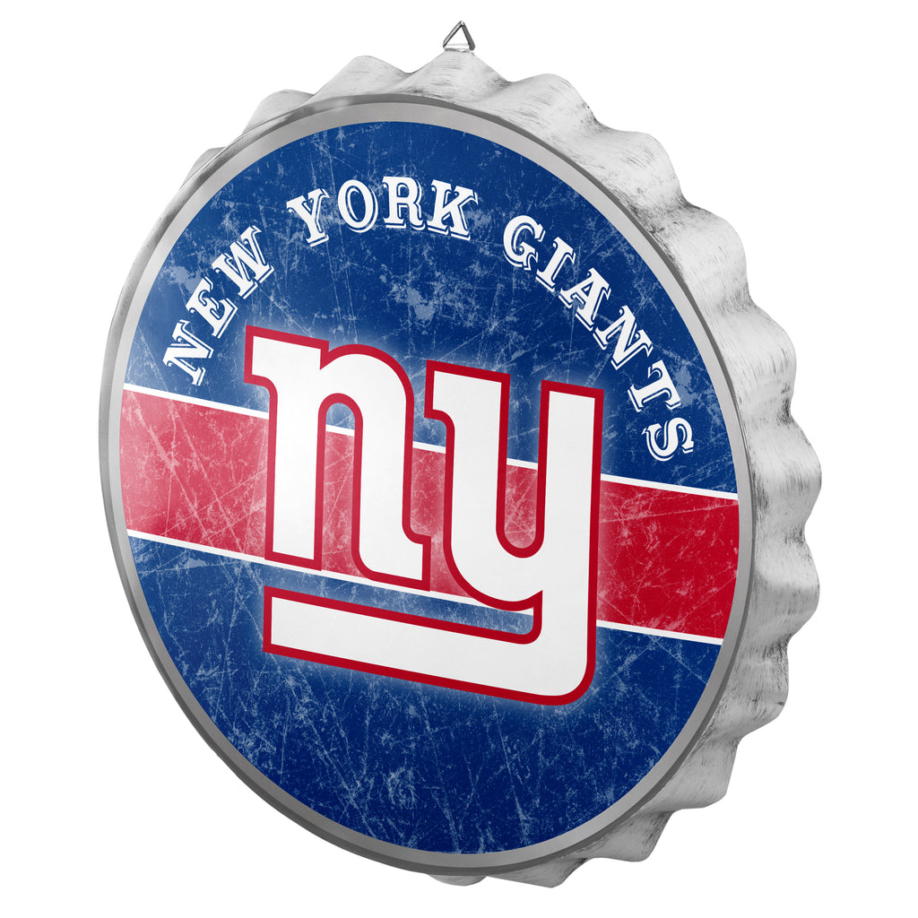 New York Giants Metal Distressed Bottle Cap Sign