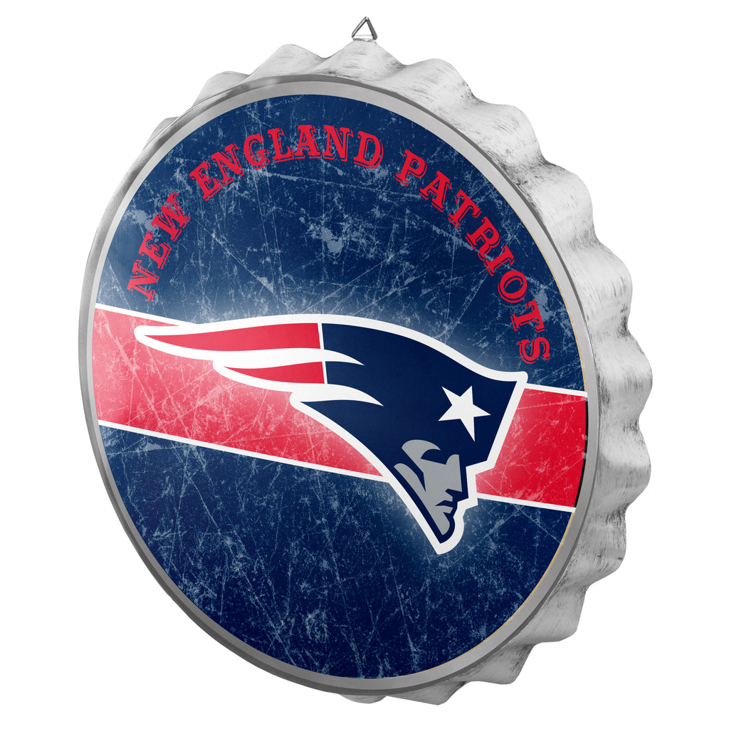 New England Patriots Metal Distressed Bottle Cap Sign