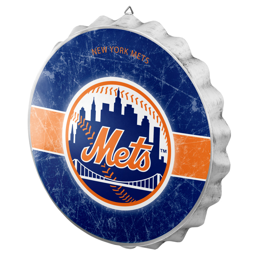 New York Mets Metal Distressed Bottle Cap Sign