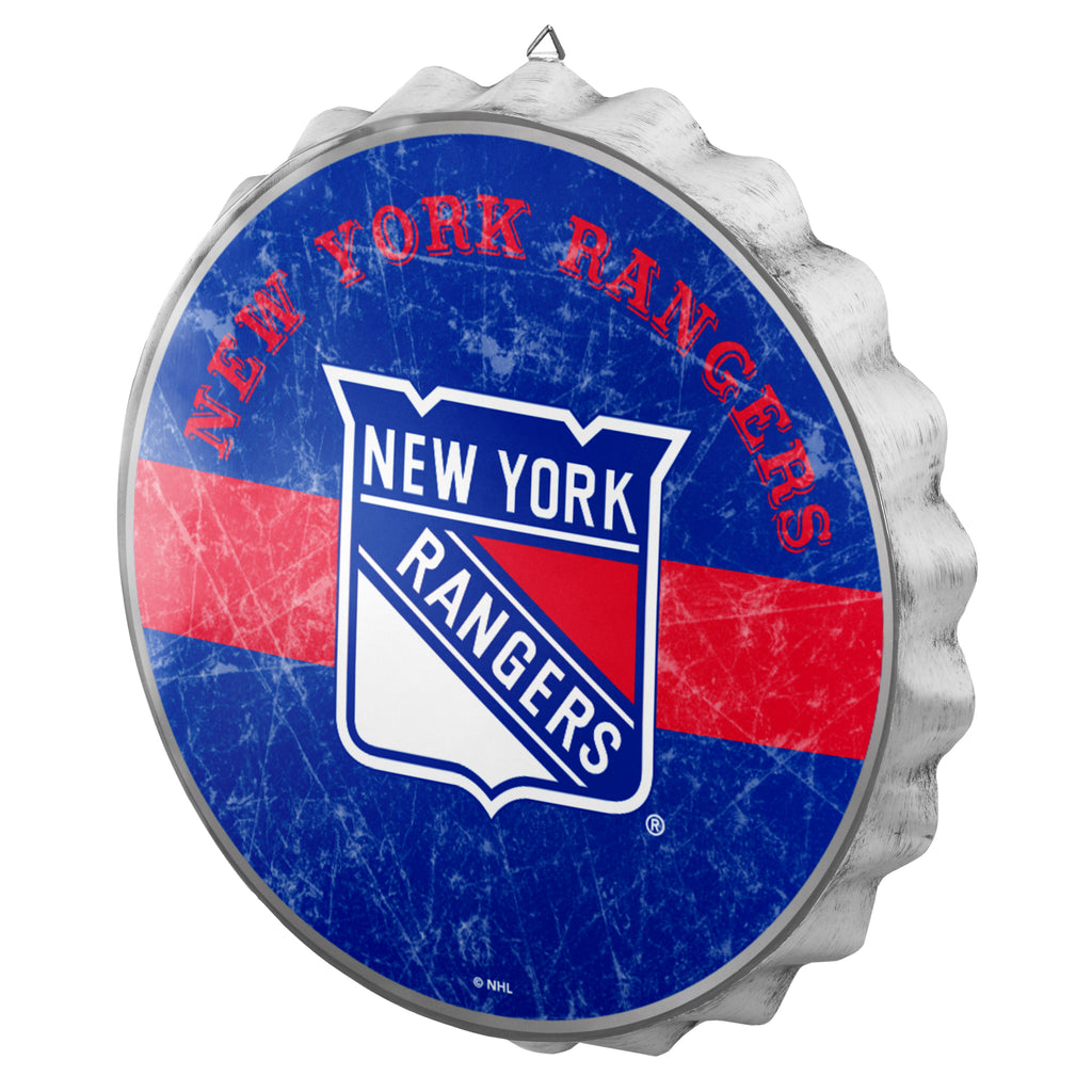 New York Rangers Metal Distressed Bottle Cap Sign