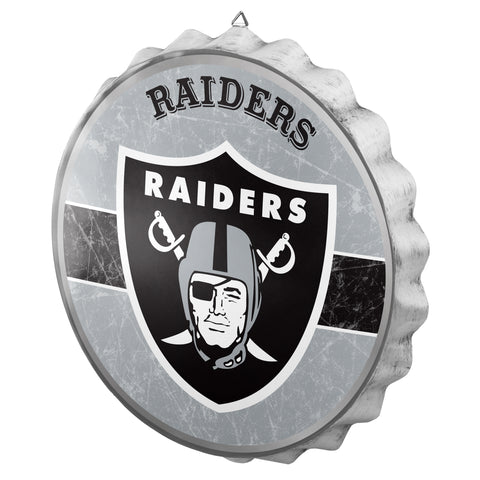 Oakland Raiders Metal Distressed Bottle Cap Sign