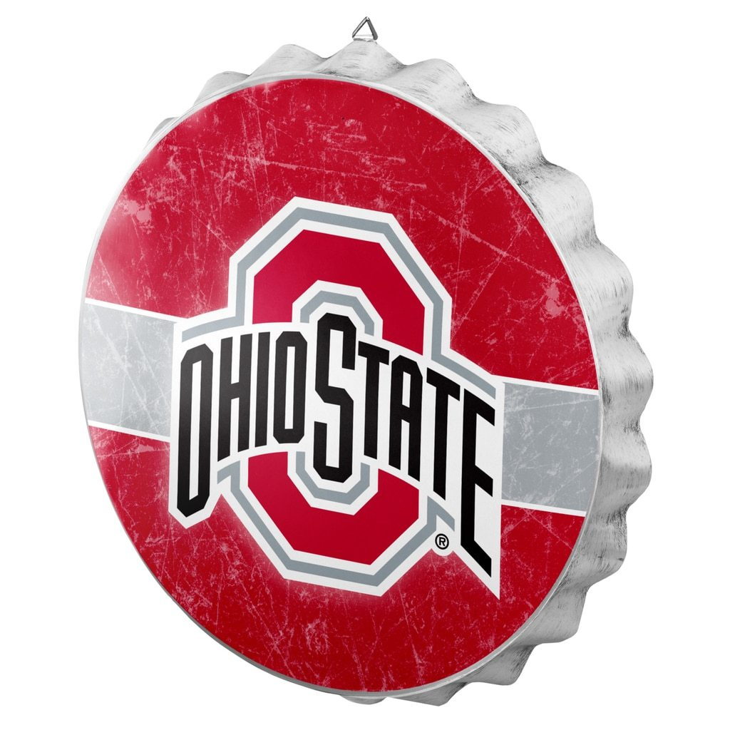 Ohio State Buckeyes Metal Distressed Bottle Cap Sign