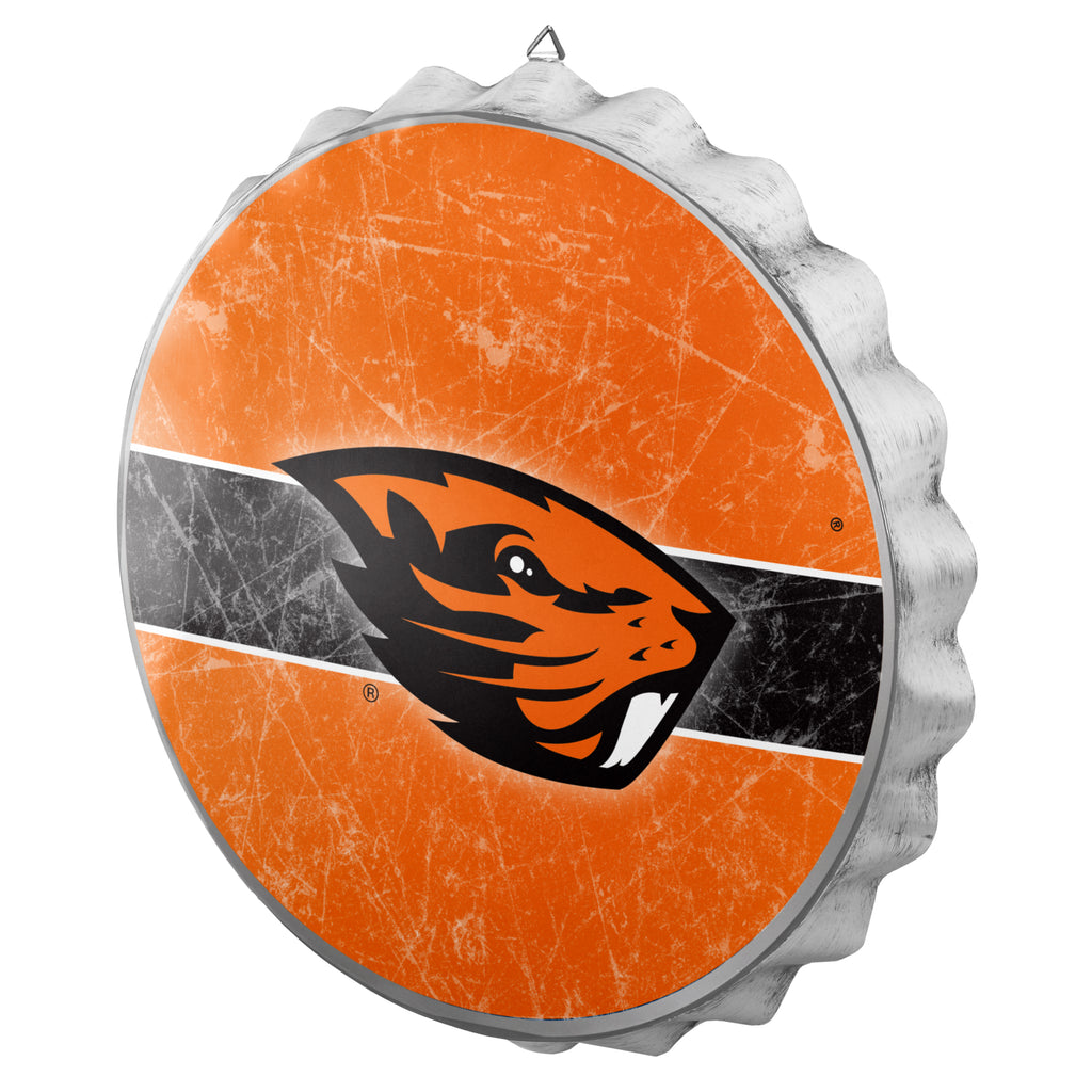 Oregon State Beavers Metal Distressed Bottle Cap Sign
