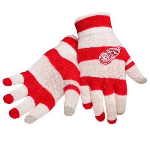 Detroit Red Wings Stripe Knit Text Glove