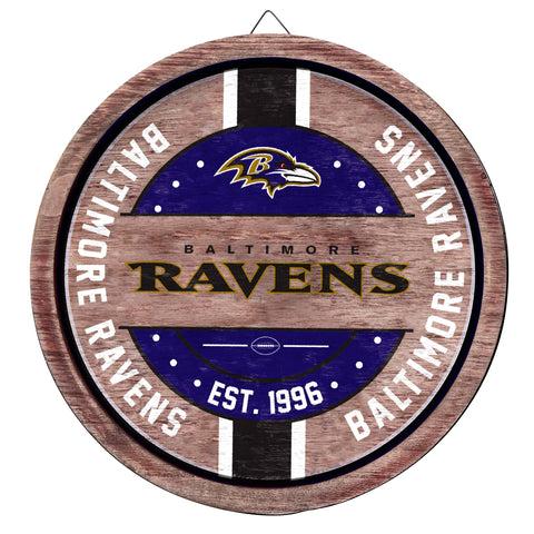 Baltimore Ravens Wooden Barrel Sign