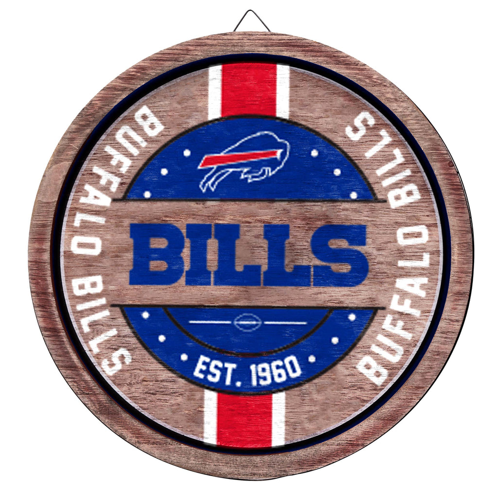 Buffalo Bills Wooden Barrel Sign