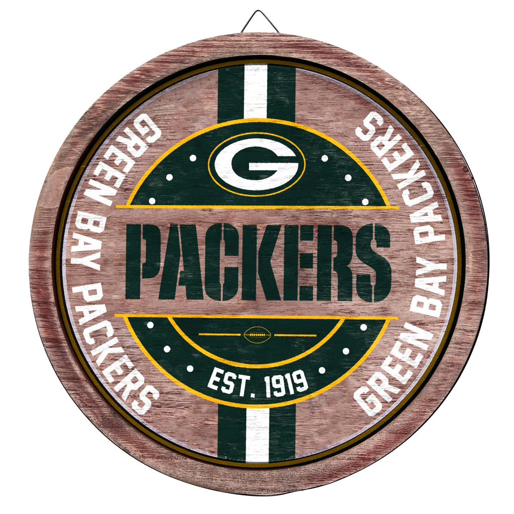 Green Bay Packers Wooden Barrel Sign