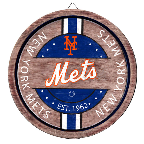 New York Mets Wooden Barrel Sign