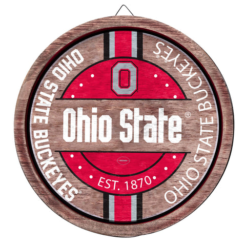 Ohio State Buckeyes Wooden Barrel Sign