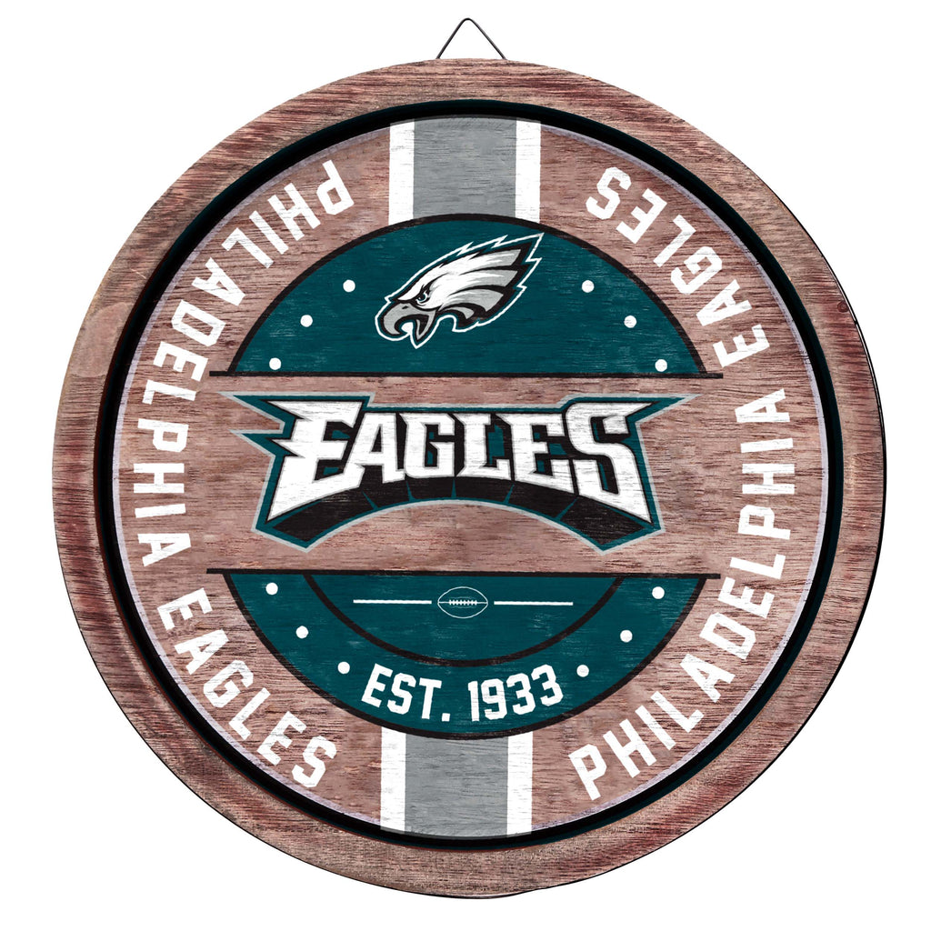 Philadelphia Eagles Wooden Barrel Sign