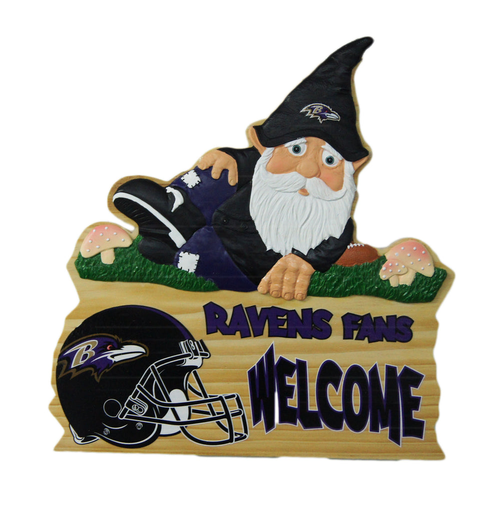 Baltimore Ravens Wooden Gnome Fence Sign