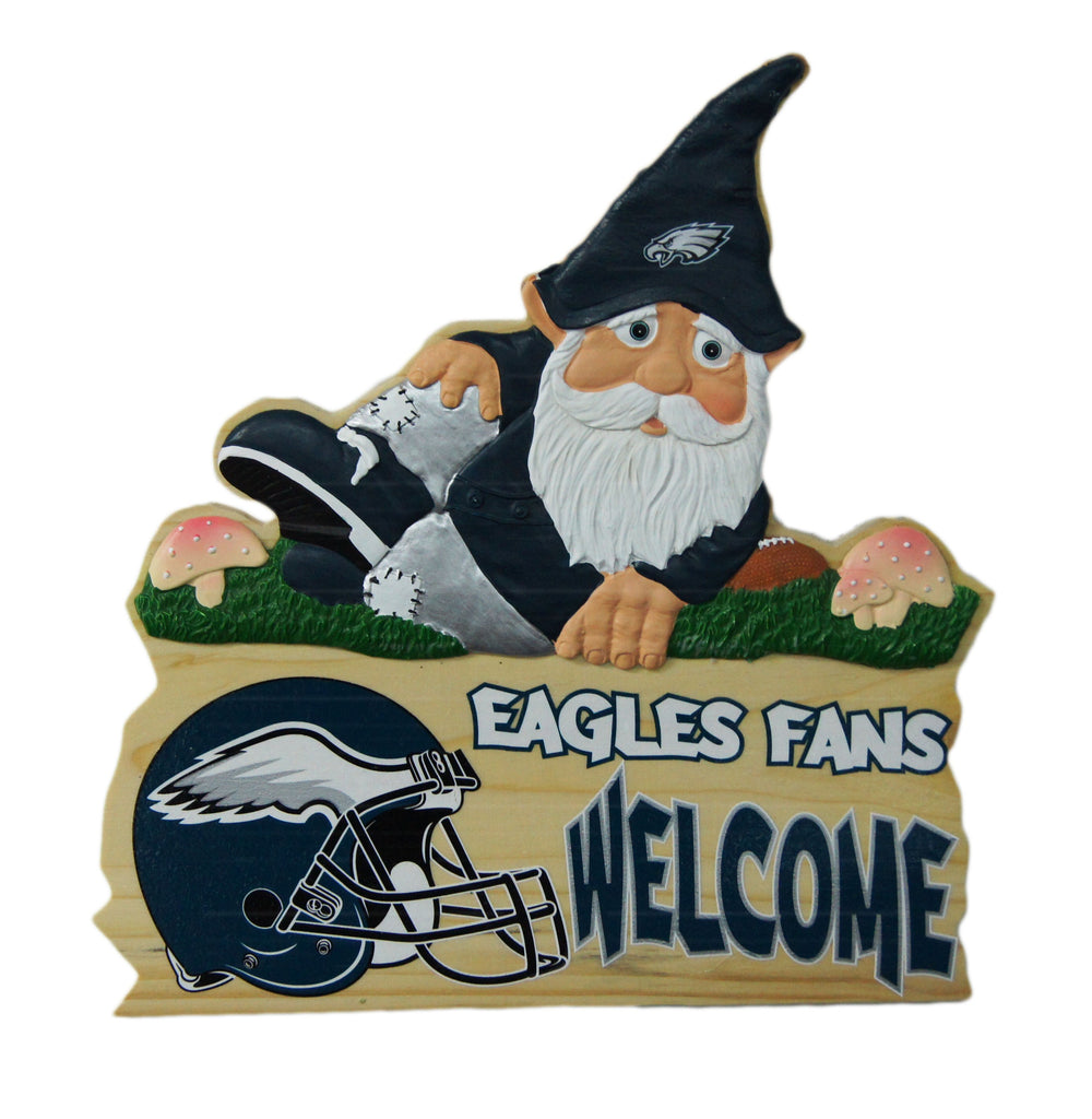Philadelphia Eagles Wooden Gnome Fence Sign