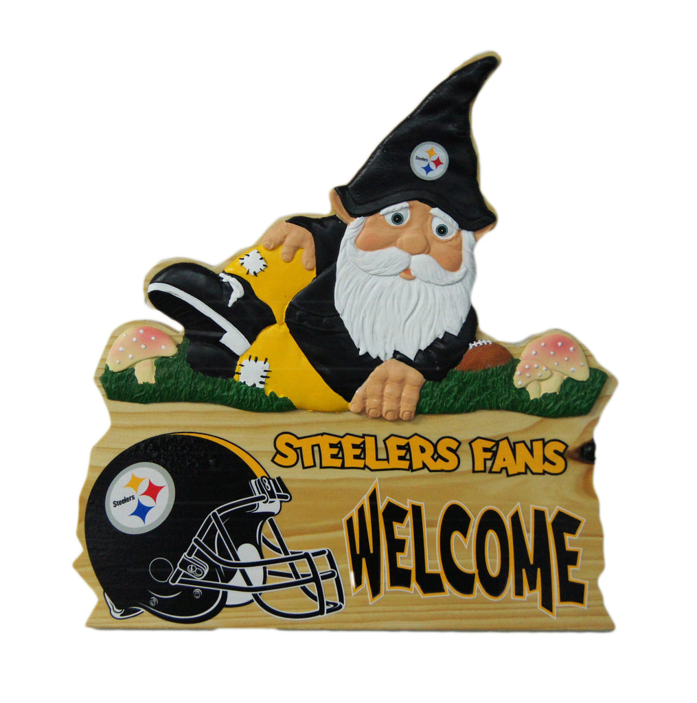 Pittsburgh Steelers Wooden Gnome Fence Sign