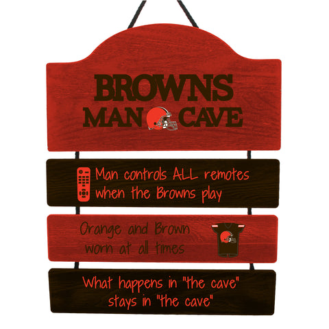 Cleveland Browns Wooden Man Cave Sign