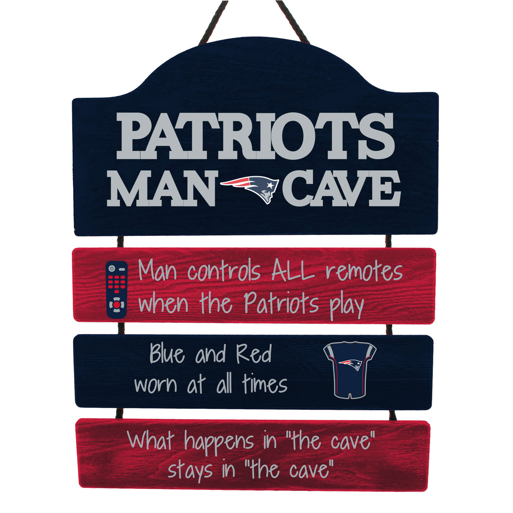 New England Patriots Wooden Man Cave Sign