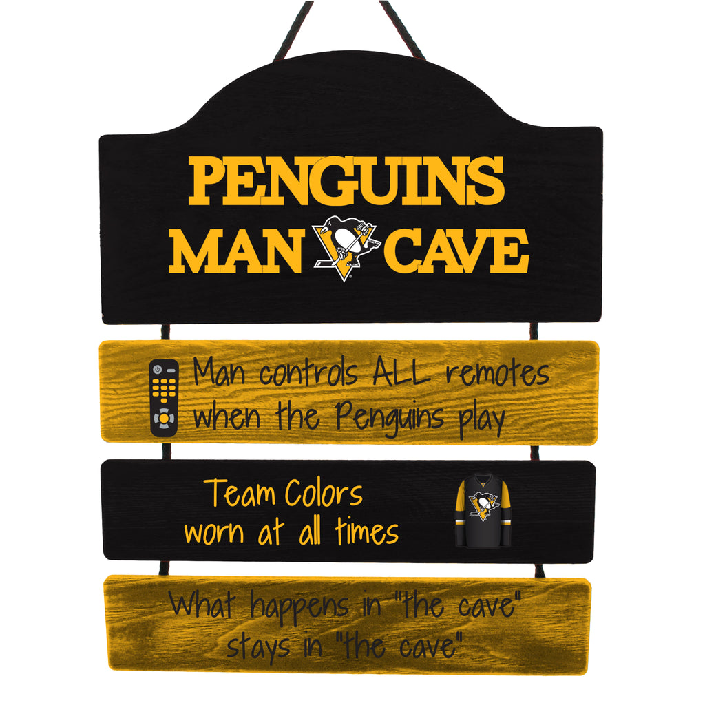 Pittsburgh Penguins Wooden Man Cave Sign