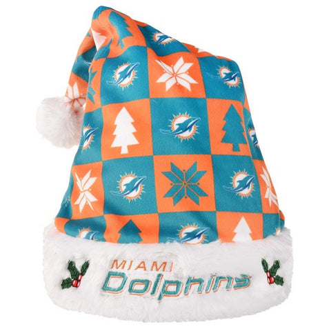 Miami Dolphins Xmas Checkers Santa Hat