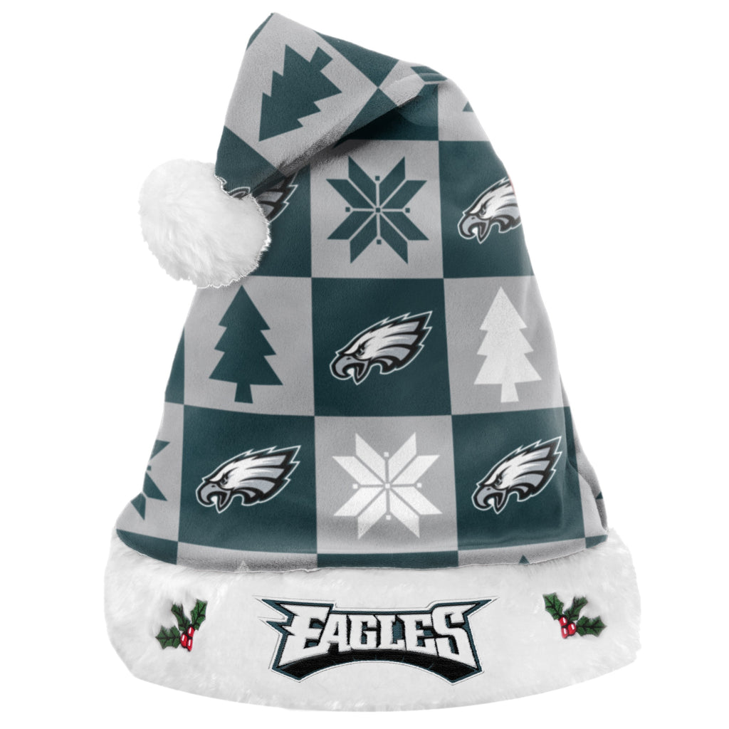 Philadelphia Eagles Xmas Checkers Santa Hat