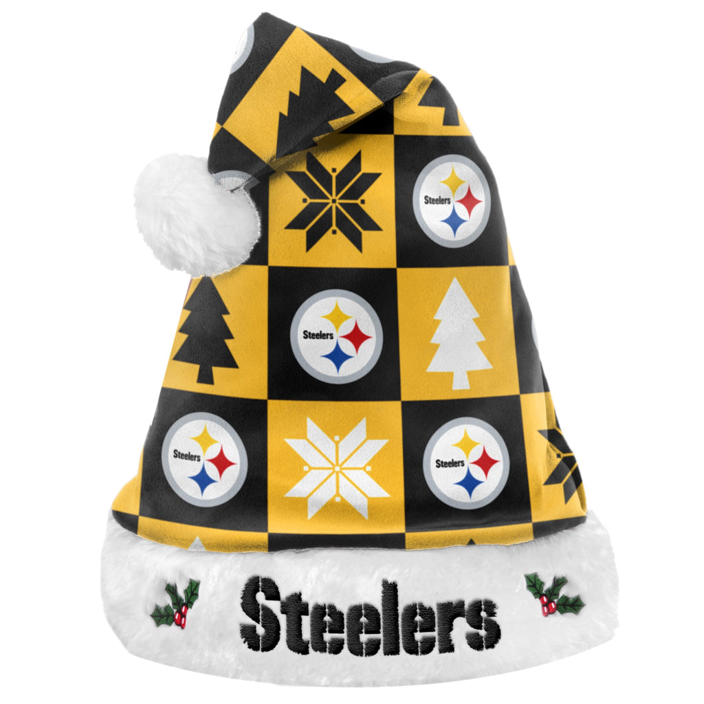 Pittsburgh Steelers Xmas Checkers Santa Hat