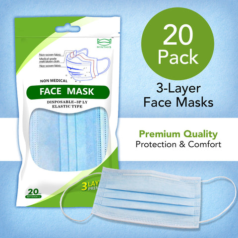 3PLY Disposable Face Masks - 20 Count