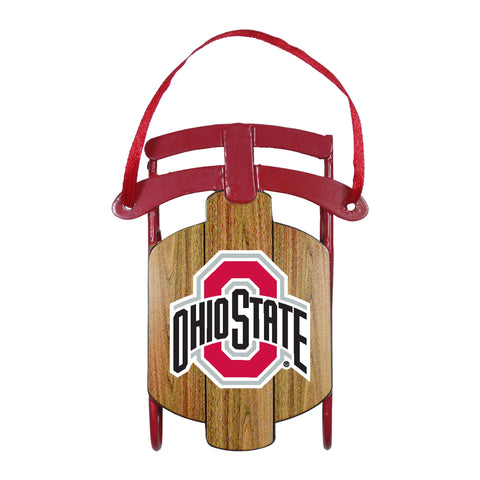 Ohio State Buckeyes Metal Sled Ornament