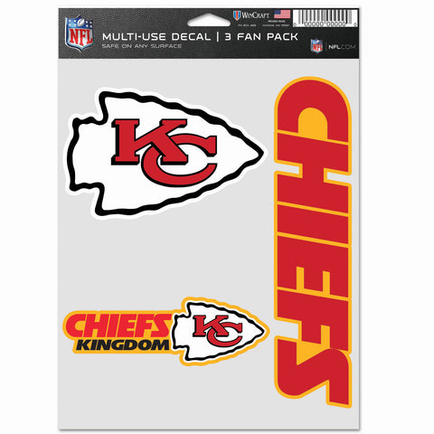 Kansas City Chiefs 3pc Fan Multi Use Decal Set
