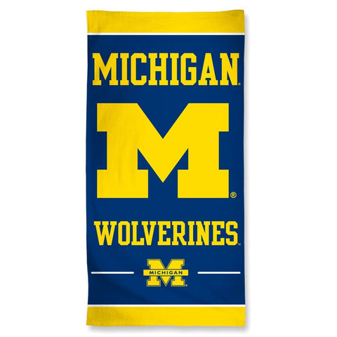 Michigan Wolverines Center Logo Beach Towel