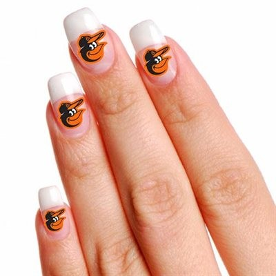 Baltimore Orioles Finger Nail Tattoo