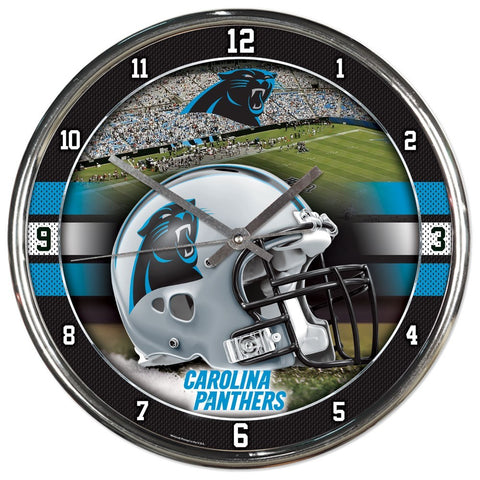 Carolina Panthers Round Chrome Clock