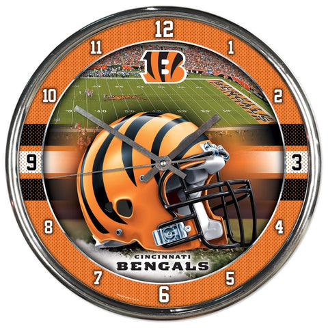 Cincinnati Bengals Round Chrome Clock