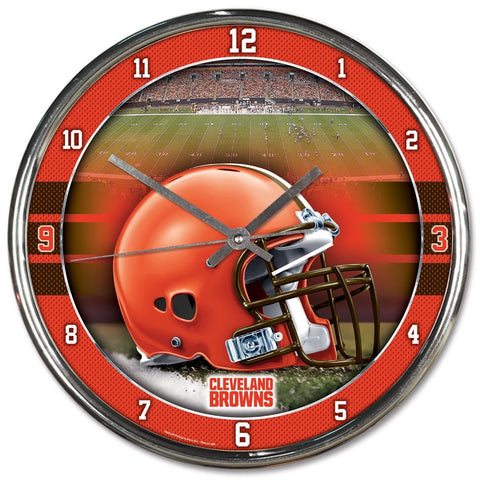 Cleveland Browns Round Chrome Clock