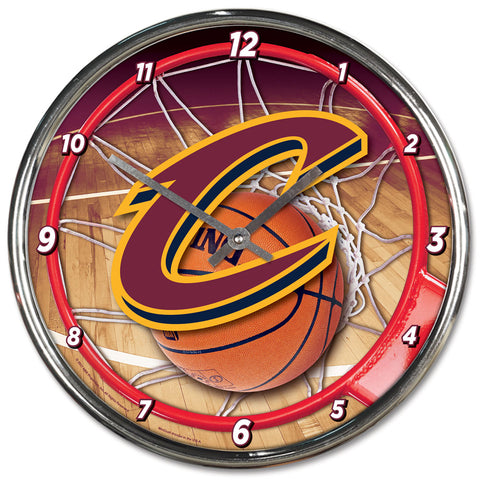 Cleveland Cavaliers Round Chrome Clock