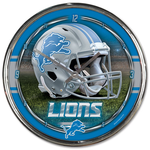 Detroit Lions Round Chrome Clock
