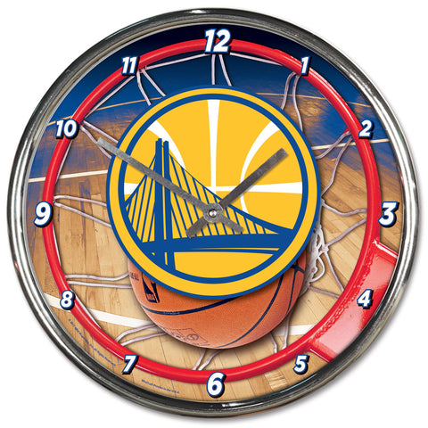 Golden State Warriors Round Chrome Clock