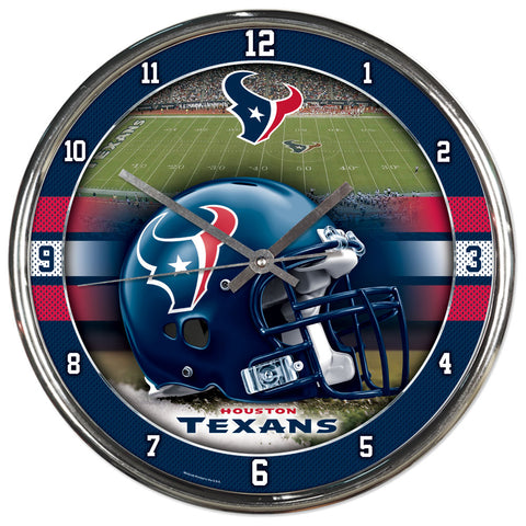 Houston Texans Round Chrome Clock