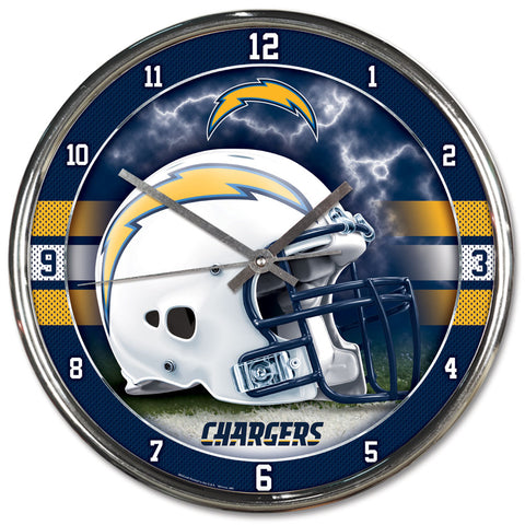 Los Angeles Chargers Round Chrome Clock