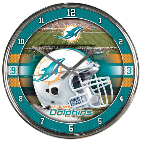 Miami Dolphins Round Chrome Clock