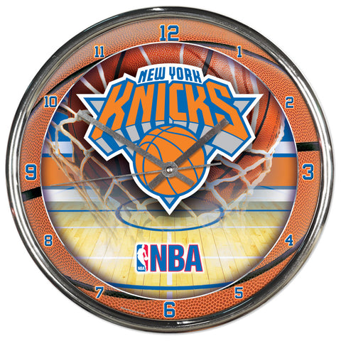New York Knicks Round Chrome Clock