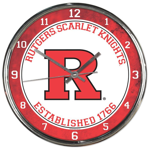 Rutgers Scarlet Knights Round Chrome Clock