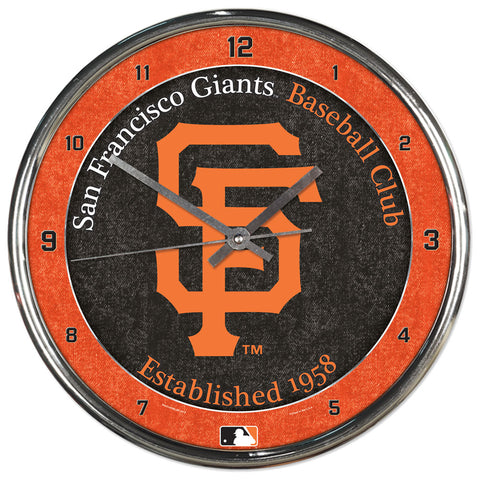 San Francisco Giants Round Chrome Clock