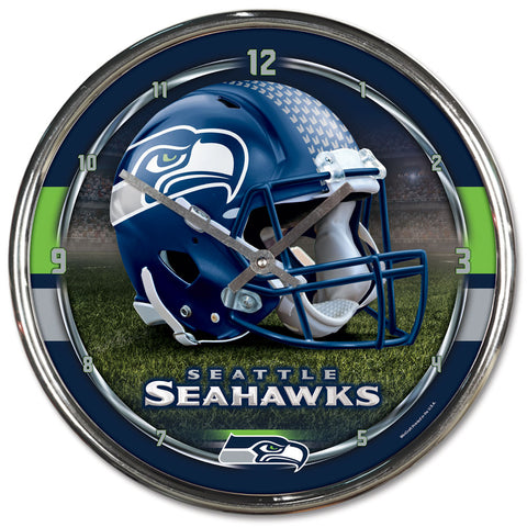 Seattle Seahawks Round Chrome Clock