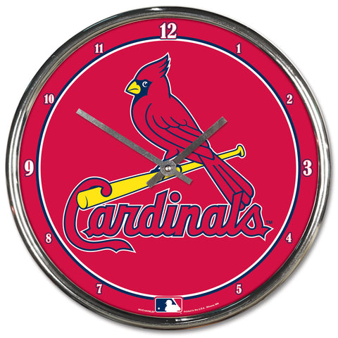 St. Louis Cardinals Round Chrome Clock