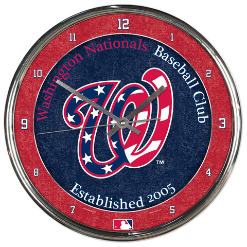 Washington Nationals Round Chrome Clock