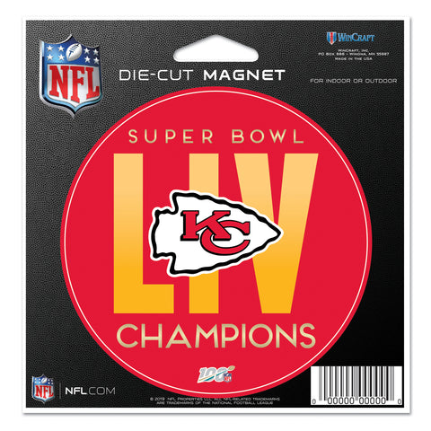 "Kansas City Chiefs Super Bowl LIV Champion 4 1/2"" Die Cut Magnet"